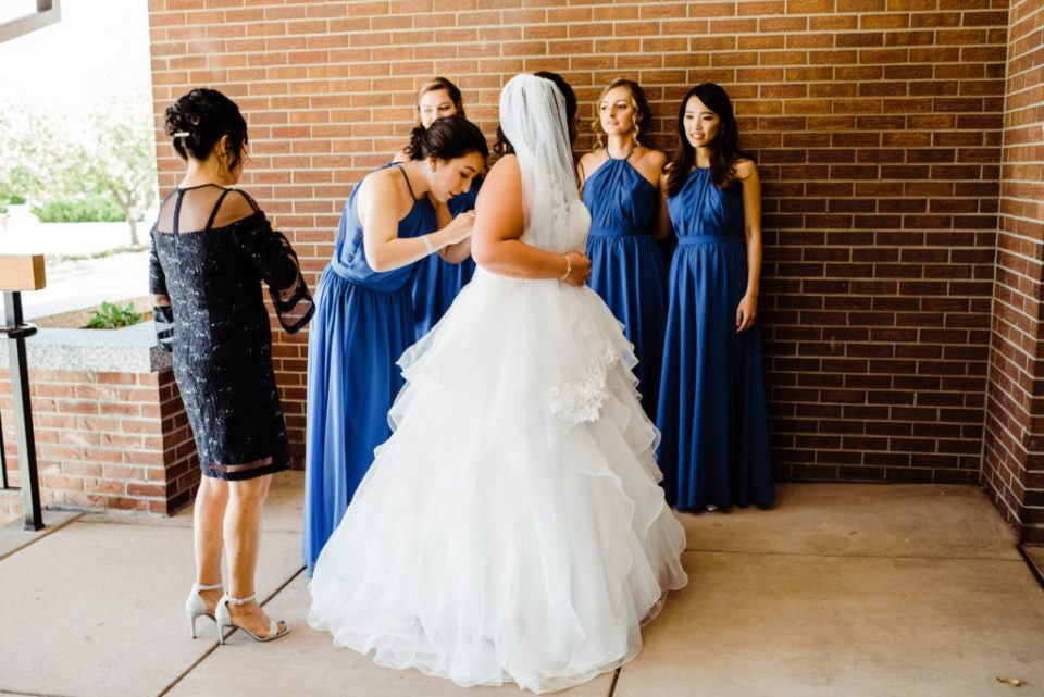 bride getting ready at the club at peterson afb