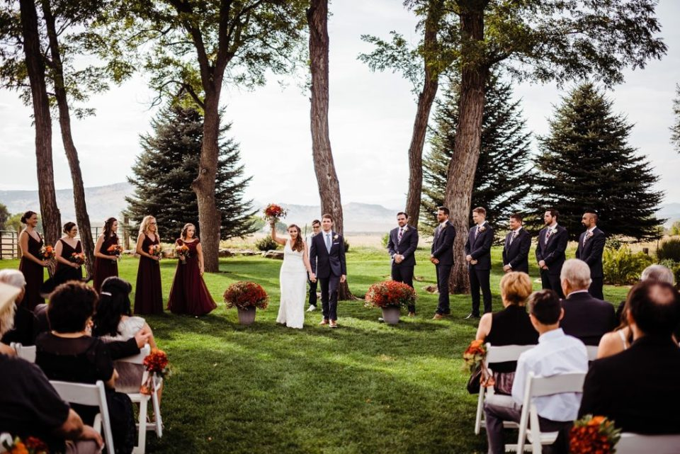 outdoor wedding ceremony at shupe homestead in longmont colorado