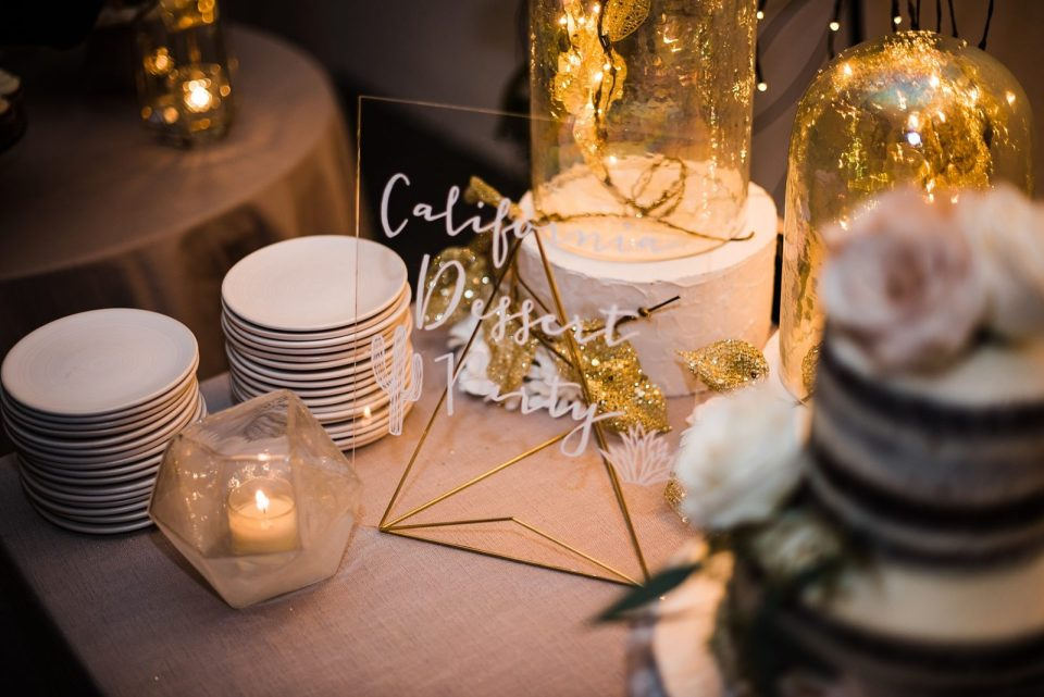 cake table details at palm springs wedding