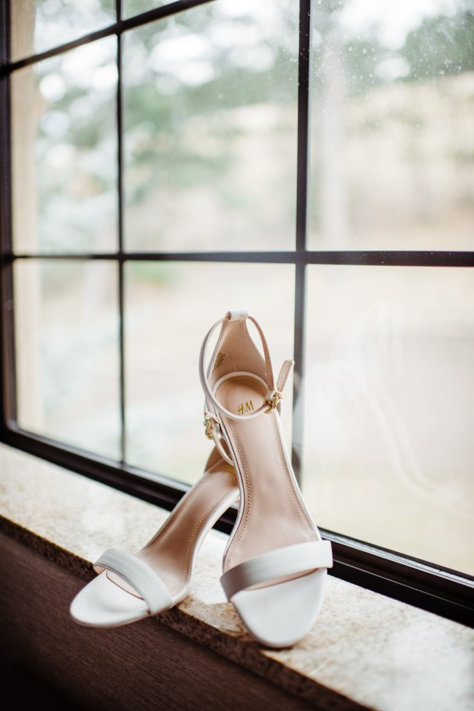 bridal shoes in the window