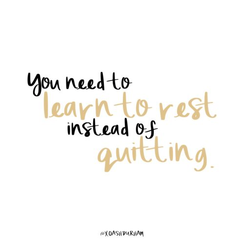 learn to rest not to quit handlettered quote