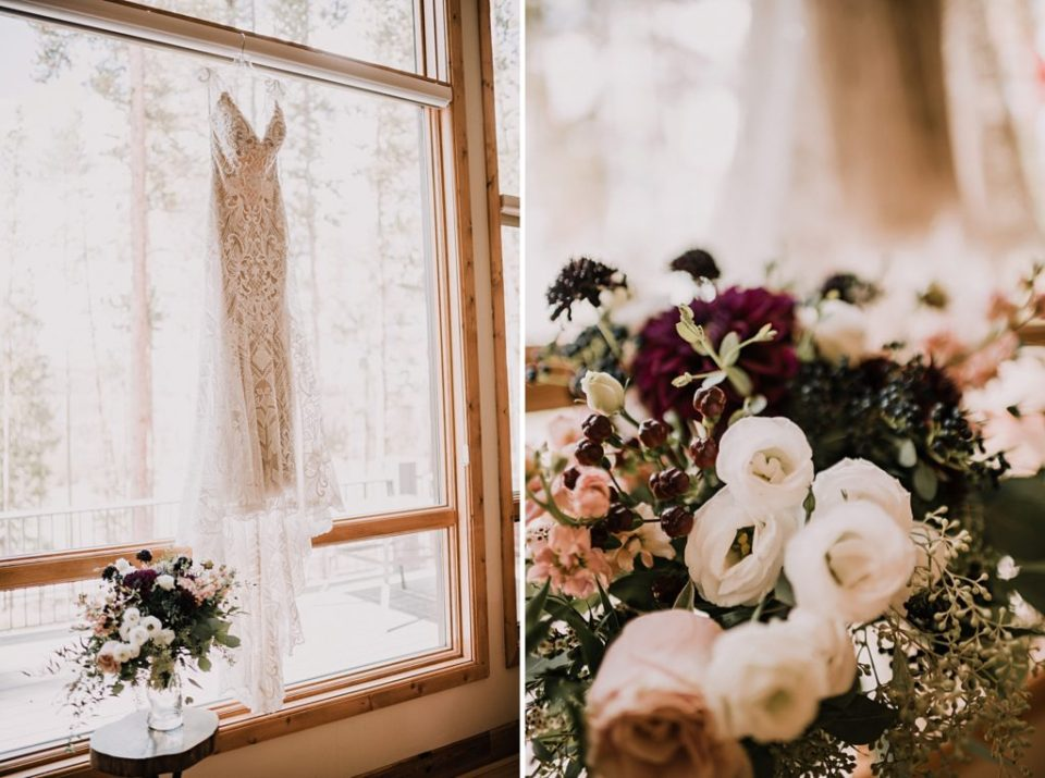 wedding dress hanging up in the window