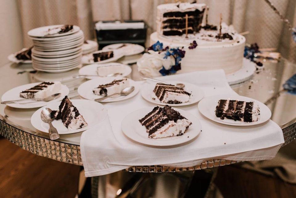 slices of chocolate wedding cake