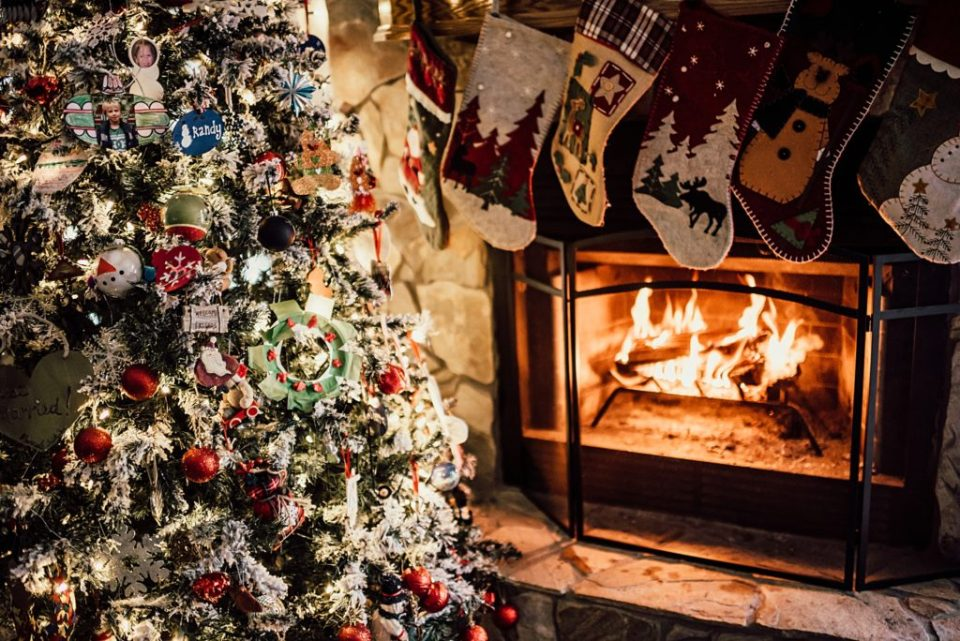 Christmas tree with a fireplace