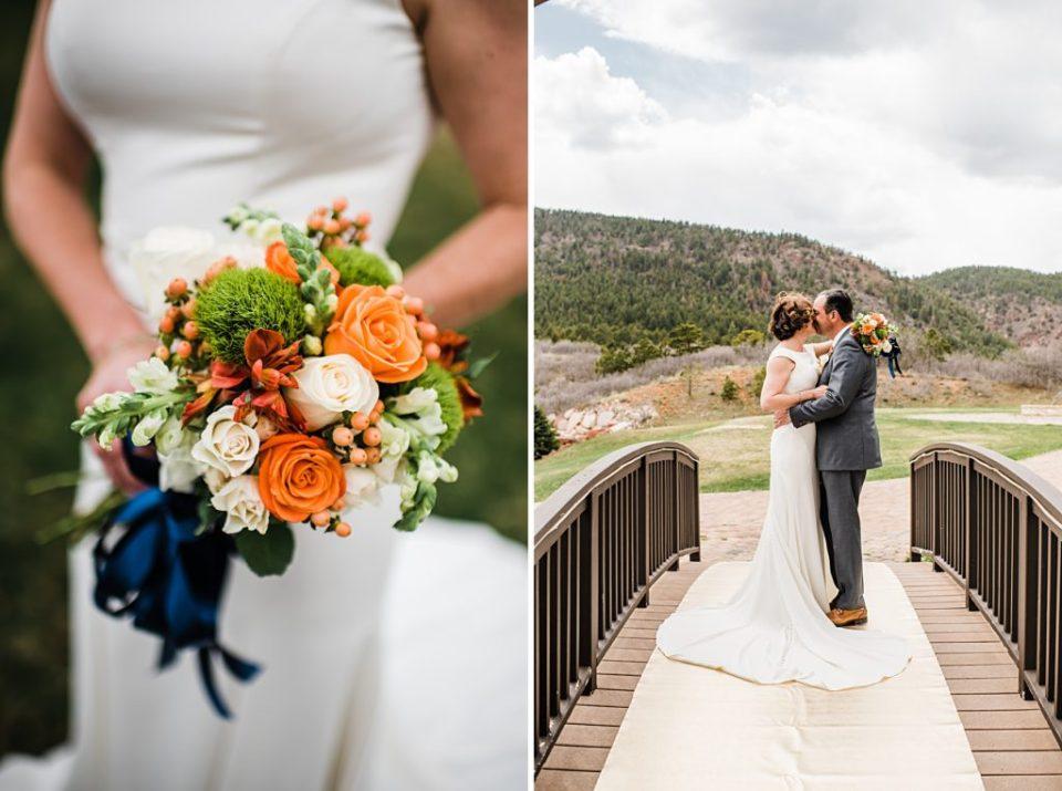 orange and white wedding bouquet
