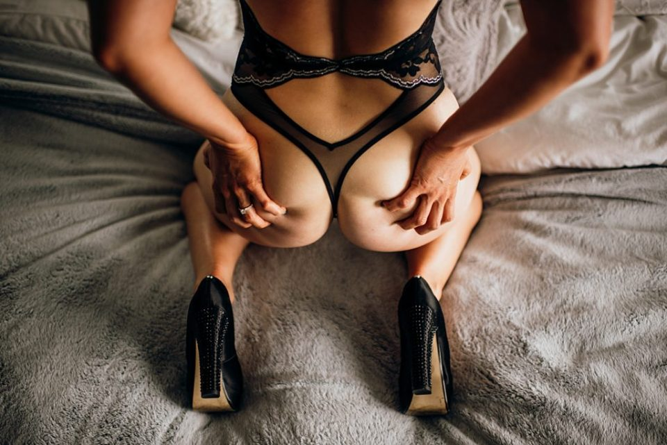 moody bridal boudoir grabbing booty