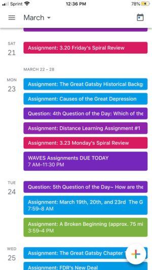 Color Coded Google Classroom Calendar