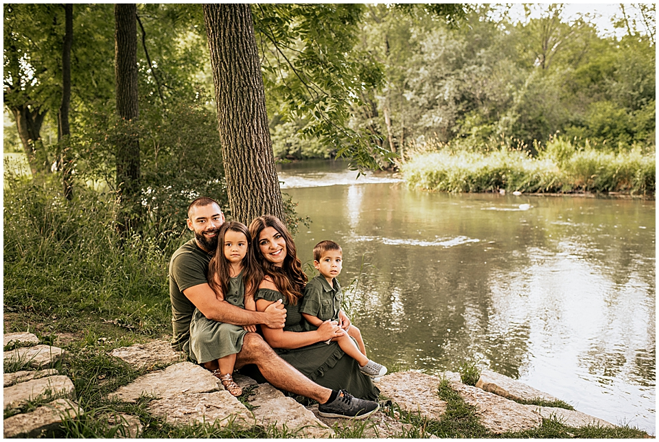 family session by white river in lake geneva