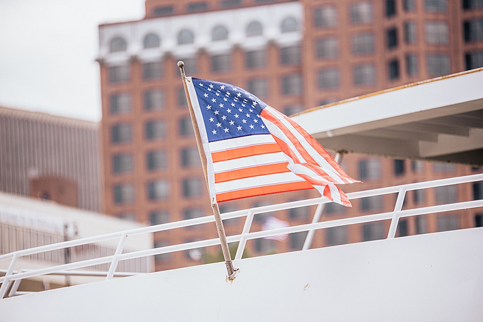 flag on the back of a boat