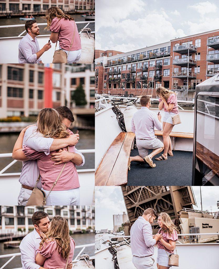 surprise proposal on boat tour