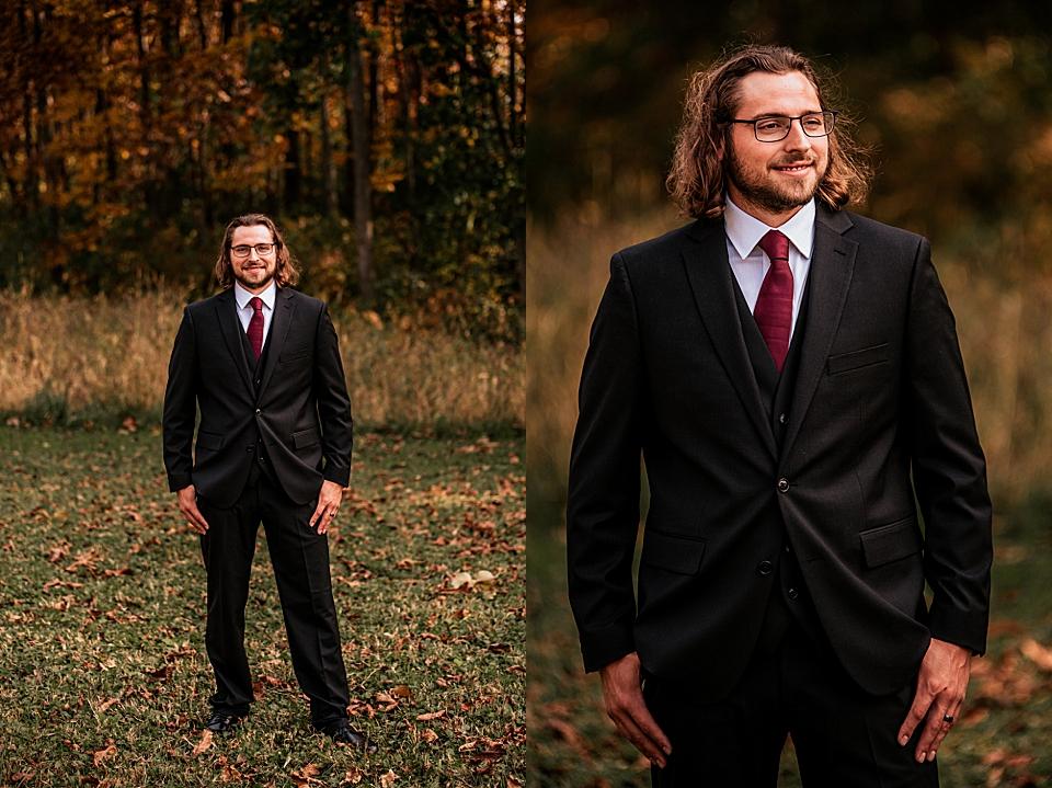 fall wedding in wisconsin groom