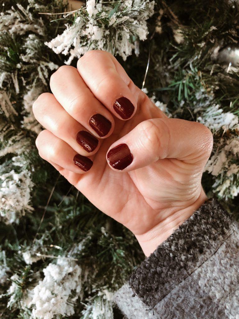 Dark  maroon solid nails color street