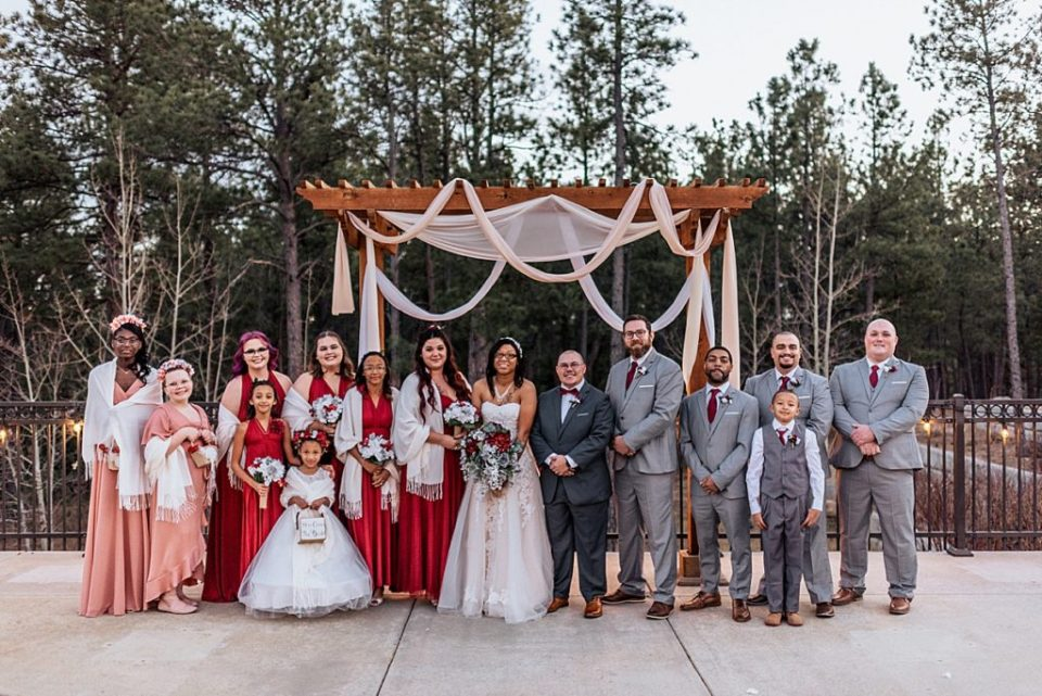 large gray red and pink wedding party