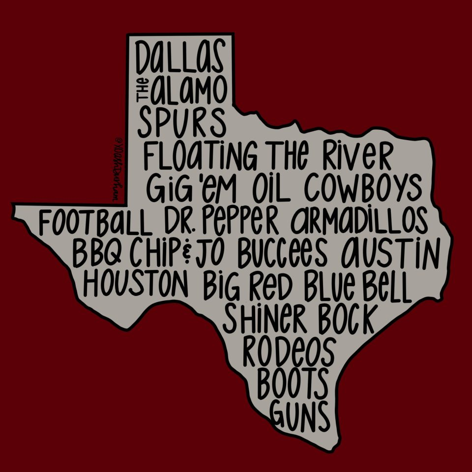 graphic showing all the amazing things about texas