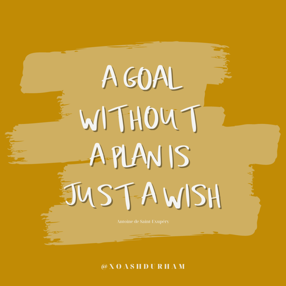 a goal without a plan is just a wish inspirational quote graphic
