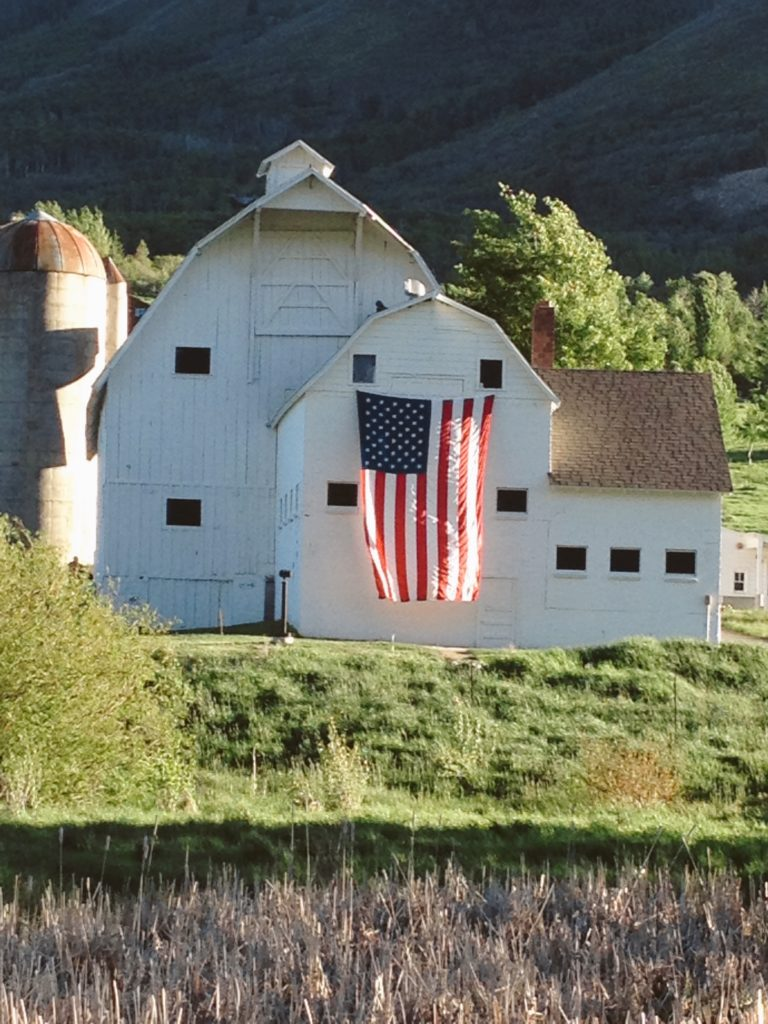 We the People of the United States flag on a white barn