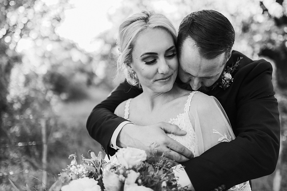 romantic black and white portrait of wedding day