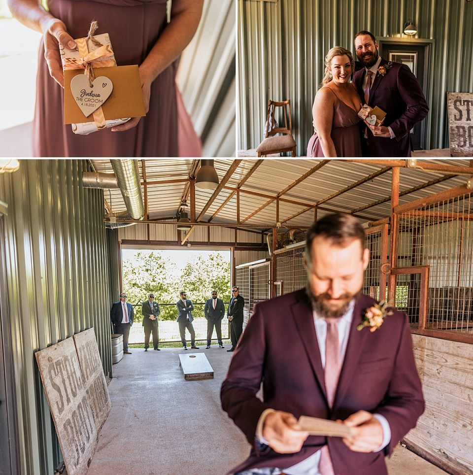 groom getting gift from bride on wedding day