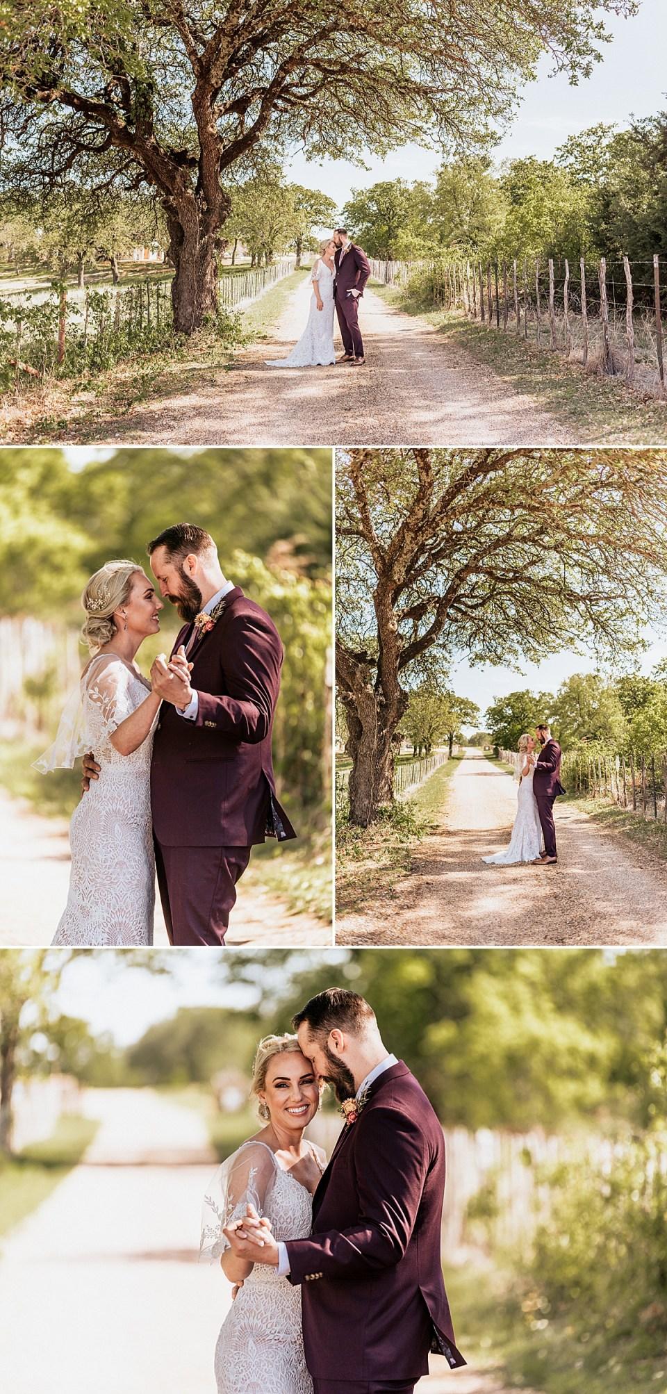 wedding photos dancing under spring trees at weatherford texas wedding at lazy s hacienda