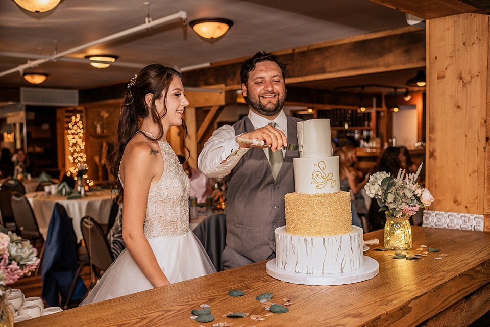 wedding cake by the gingerbread house in muskego