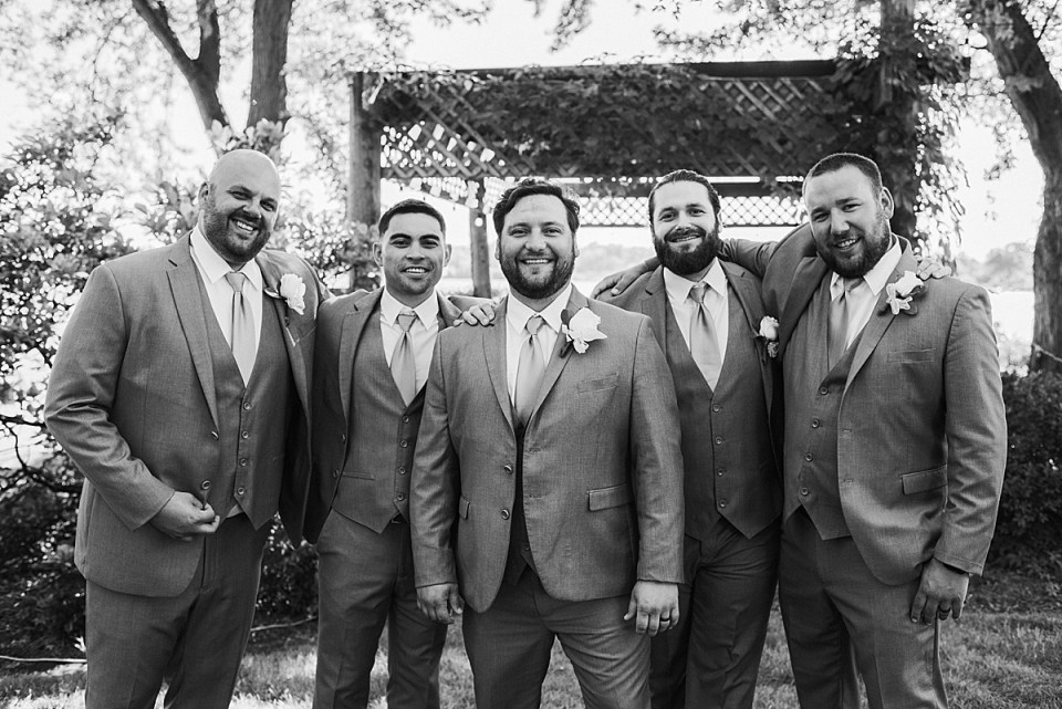 black and white classic groom party photo