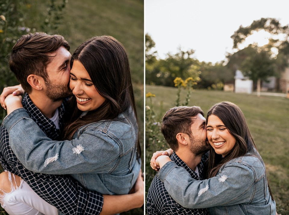 couple snuggling and laughing together