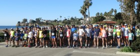 All lined up at the west beach starting line. Ralph is fourth in from the far right
