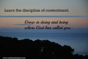 Discipline of contentment
