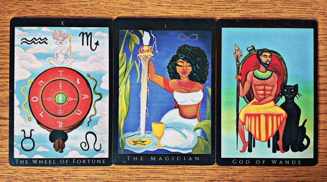 The Wheel of Fortune, The Magician, and the God of Wands Tarot Cards