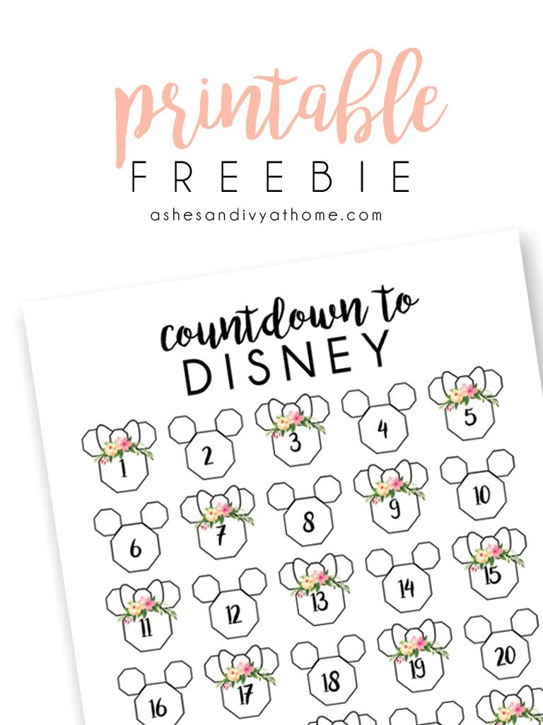 graphic regarding Disney Countdown Printable named No cost Countdown towards Disney Printable ASHES + IVY AT Residence