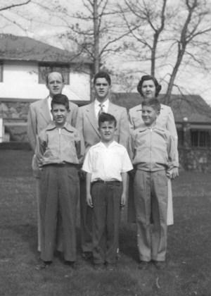 Rear (L to R): John, , Richard, and Mary Nea. Front (L to R): David, John, Jr., and Norman. Enka Lake Club, ca. 1952.