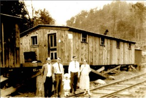 Ritter Lumber Co., Swain County NC. Commissary, 1926, with company families standing in front. Special Collections, D. H. Ramsey Library, UNC Asheville