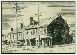 James Smith's Buck Hotel (1825), on site of later Langren Hotel. Smith-McDowell House Museum.