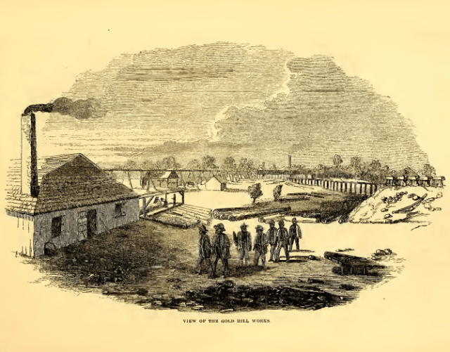 Gold Works at Gold Hill NC, ca. 40 mi. NE of Charlotte. Harper's New Monthly Magazine (1857).
