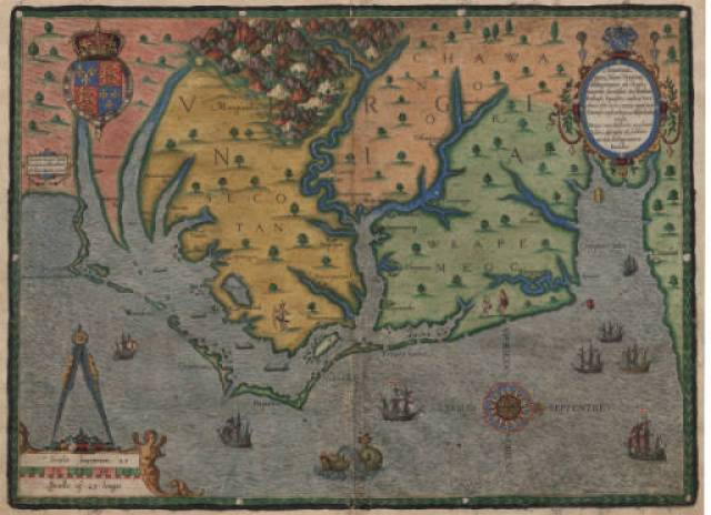 Hand-colored view of the coast of North Carolina at the time of the first attempt at a British settlement in North America, 1585, showing the Outer Banks and coast of North Carolina from the modern Virginia border south to Cape Fear. Theodor de Bry, (1528-1598). North Carolina Collection at the University of North Carolina at Chapel Hill.