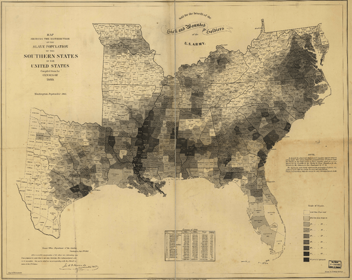 Slave Population of the Southern States, 1860. Federal Census of 1860. Click for full-size map.