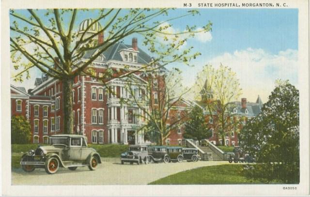 Western North Carolina Insane Asylum, Morganton NC [after 1890, State Hospital at Morganton. Postcard from 1920s. North Carolina Postcard Collection, UNC Library