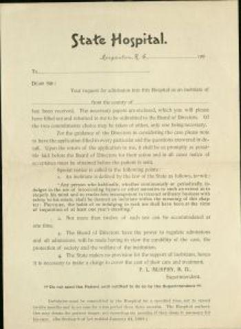 Western North Carolina Insane Asylum, Inebriate Admission form ca. 1885. Morganton Public Library