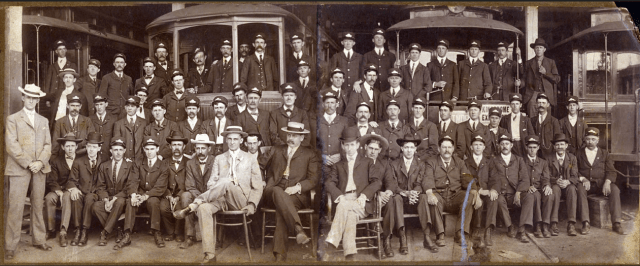 Asheville Street Railway employees, ca. 1906. Division 128 of the Amalgamated Association of Street and Electric Railway Employees of America