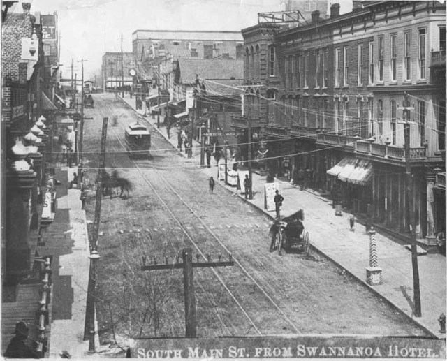 Streetcar on S. Main Street, from balcony of Swannanoa Hotel. Pack Memorial Public Library
