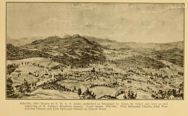Asheville in 1854. Foster A. Sondley, Asheville and Buncombe County (1922), p. 121.