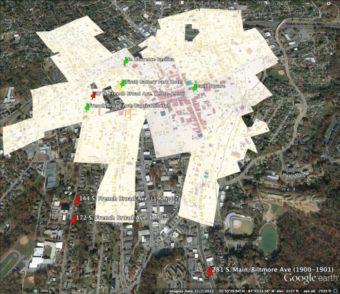 Asbury's places of residence 1900-1907 layered onto Google Earth satellite view of current Asheville