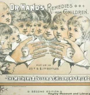 Children's patent medicine catalog, ca. 1885. Hadley Museum and Library.