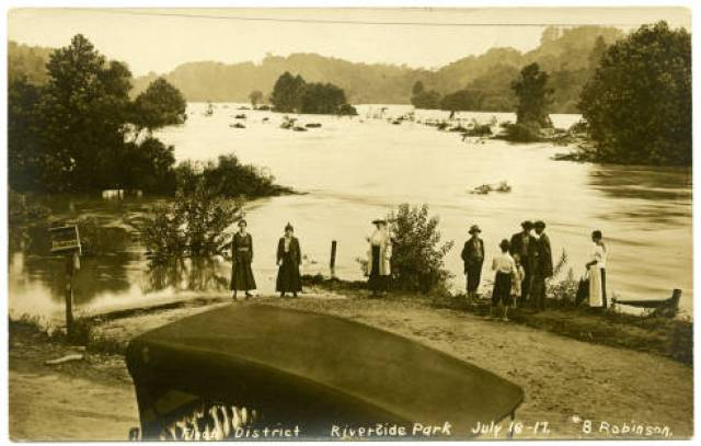 Flood district at Riverside Park, July 16-17, 1916. North Carolina Postcards, UNC-CH Library.