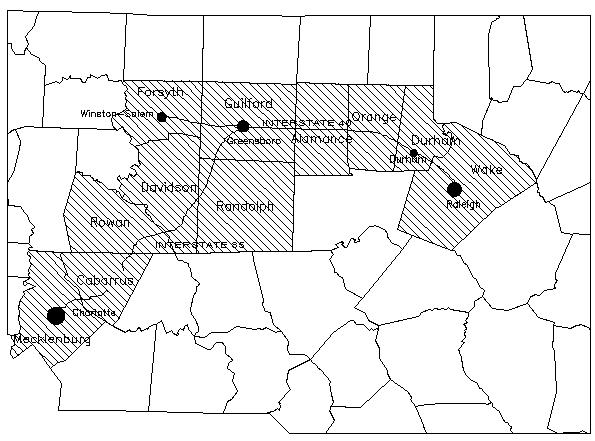 Piedmont crescent, Natural Resources Inventory, North Carolina State University, via NCpedia.