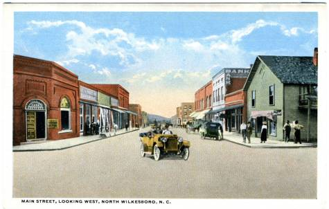 Main Street, North Wilkesboro, ca. 1915-1920. Durwood Barbour Collection of North Carolina Postcards, UNC Chapel Hill.