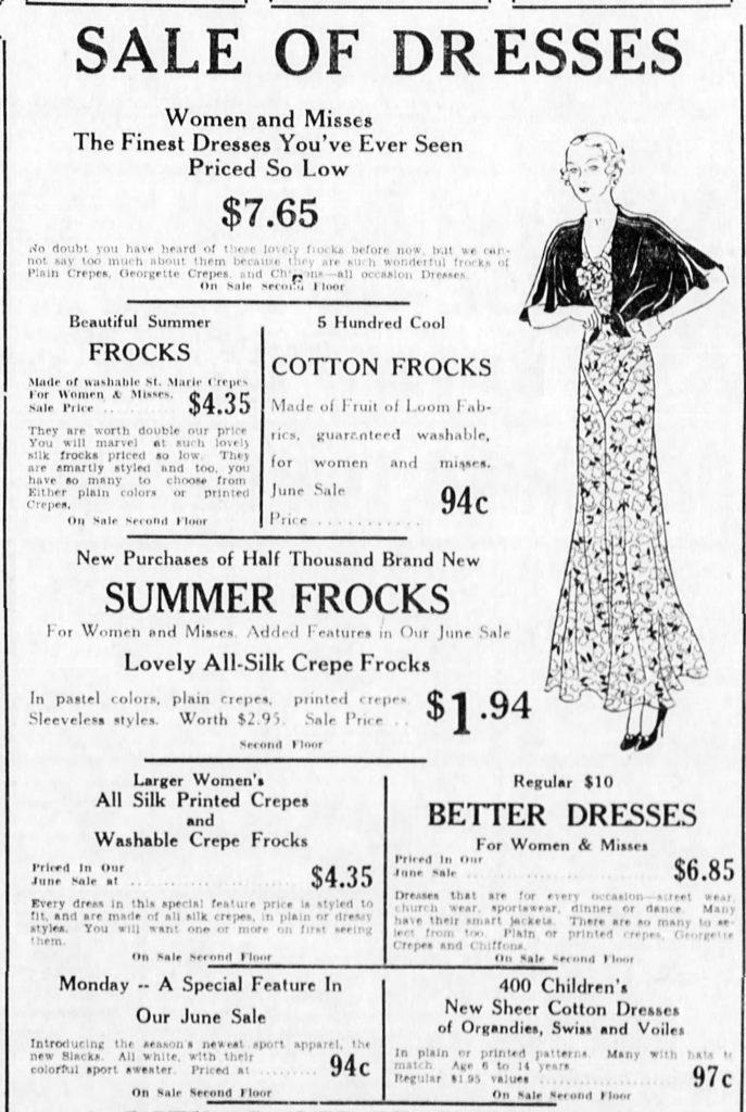 Efird's women's clothing advertisement, June 1934