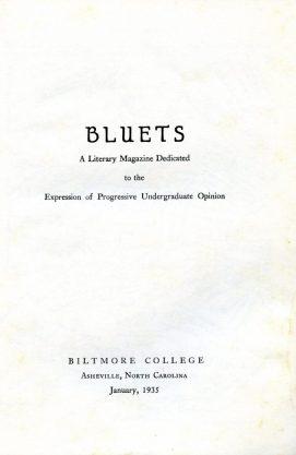 Bluets title page, Jan. 1935