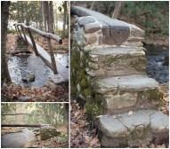 An old footbridge leading across a stream.