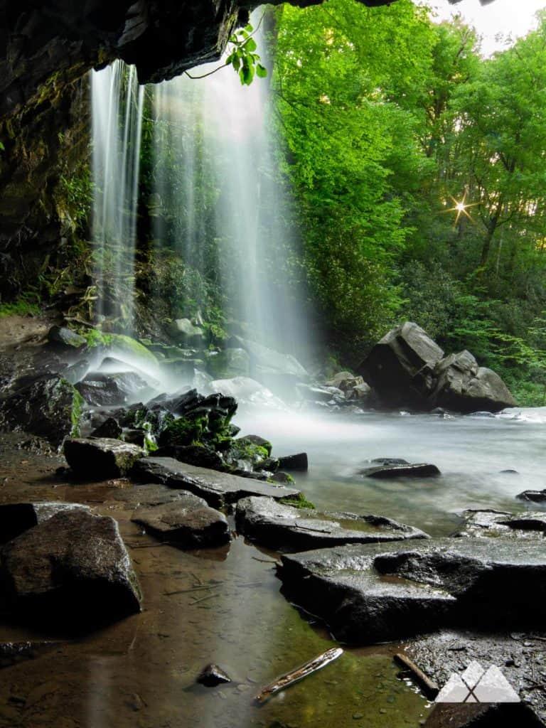 "Each ""walk through the grotto"" Grotto Falls On The Trillium Gap Trail Asheville Trails"
